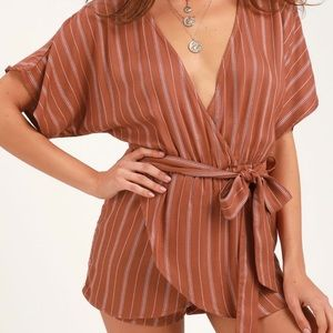 LULU's Rust Red Striped Short Romper Nordstrom S